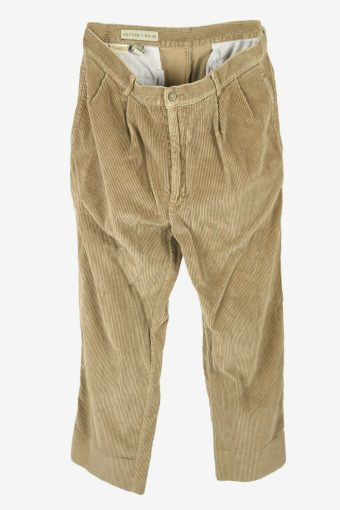 Corduroy Cord Trousers Vintage Relaxed Fit Smart Beige Size W33 L28