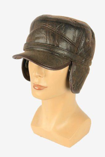 Fur Leather Cap Hat Vintage Earflaps Ski Cossack 90s Brown Size 57 cm