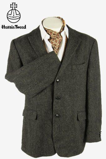 Harris Tweed Vintage Blazer Jacket Herringbone Weave Dark grey Size XXL