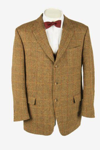 Harris Tweed Vintage Blazer Jacket Windowpane Country Weave Camel Size XL