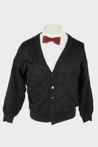 Knit Cardigan Vintage V Neck Sweater Cosby Button Up 90s Black Size M