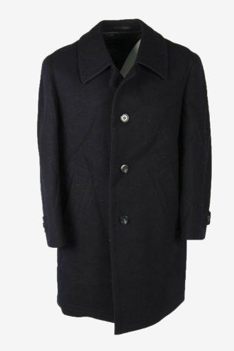 Overcoat Vintage Wool Coat Jacket Classic Warm Lined 90s Navy Size XXL
