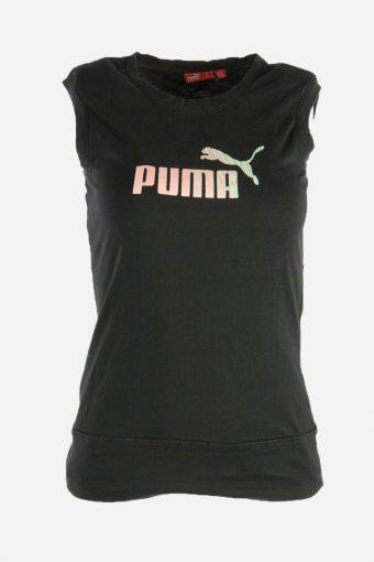 Puma T-Shirt Tee Women Short Sleeve Sports Vintage 90s  Black Size S