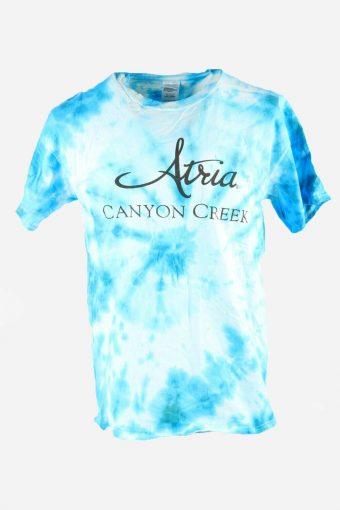 Rainbow Tie Dye T-Shirt Retro 90s Music Festival Hipster Men Blue Size L