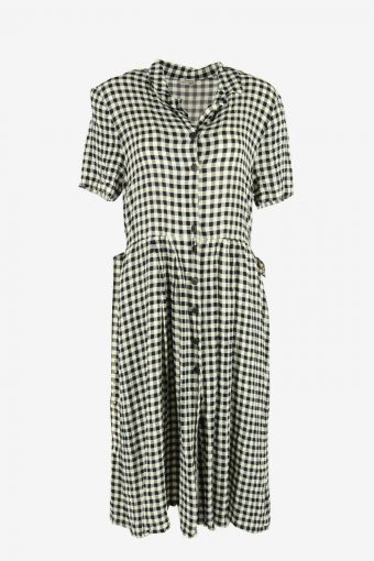 Short Sleeve Check Midi Dress Vintage Collared Retro Multi Size XL
