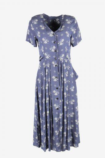 Short Sleeve Floral Fit & Flare Dress Vintage V Neck Light Blue Size S