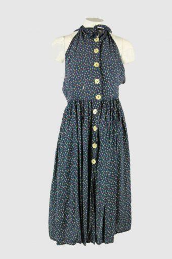 Sleeveless Floral Fit Flare Dress Vintage Halter Strap  Navy Size