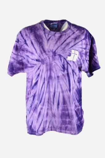 Tie Dye T-Shirt Retro Music Festival Hipster Vintage Women Purple Size L