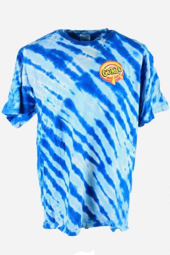 Tie Dye T-Shirt Top Tee Music Festival Retro Rainbow  Men Blue Size XL