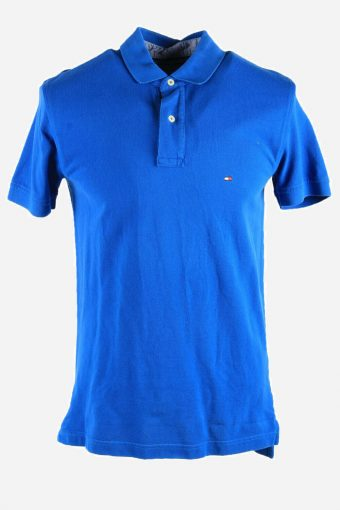 Tommy Hilfiger Polo Shirts Casual Plain Short Sleeve Men Blue Size M