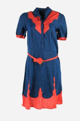 Vintage 90s Plain Dress Collared Button Up Belt Midi Women Blue Size L