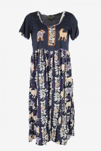 Vintage Animal Print Midi Dress Short Sleeve V Neck Retro Navy Size L