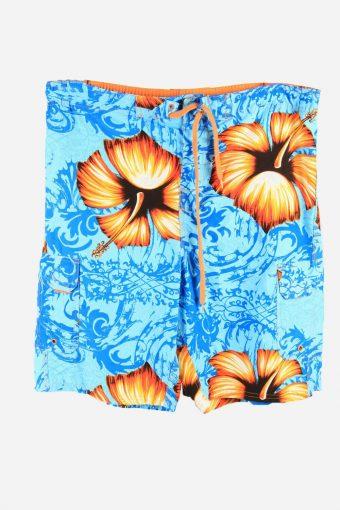 Vintage Beach Loud Bermuda Holiday Hawaiian Shorts Turquoise Size XL