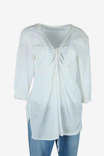 Vintage Boho Embroidered Blouse Hippie Gypsy 90s Retro White Size L
