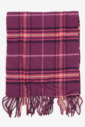Vintage Check Tartan Neck Warmer Scarf Winter Soft  90s Retro Purple