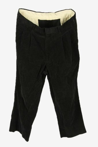 Vintage Corduroy Cord Trousers Relaxed Fit Smart Black Size W36 L25