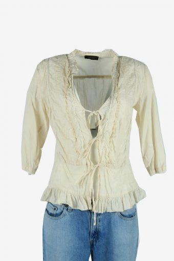 Vintage Embroidered Blouse Cotton Hippie Gypsy Top Kaftan Beige Size S
