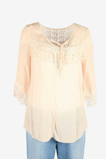 Vintage Embroidered Hippie Gypsy Blouse Tunic Top Kaftan Pink 90s Size M