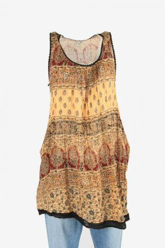 Vintage Embroidered Hippie Gypsy Women Dress Shor 90s Retro Beige Size M