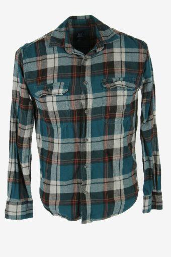 Vintage Flannel Shirt Check Long Sleeve Button 90s Cotton Multi Size S – SH4237