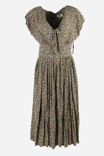 Vintage Floral Dress Elastic Waist V Neck 90s Midi Women Multi Size M