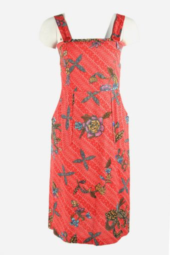 Vintage Flowers Print Sleeveless Dress Midi Scoop Neck 90s Multi Size S