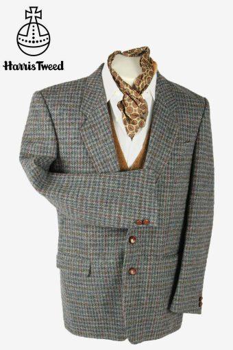 Vintage Harris Tweed Blazer Jacket Check Country Weave 90s Grey Size M