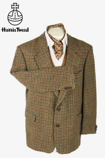 Vintage Harris Tweed Blazer Jacket Check Weave Retro 90s Brown Size XXL