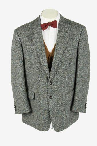 Vintage Harris Tweed Blazer Jacket Herringbone Country  Grey Size XL
