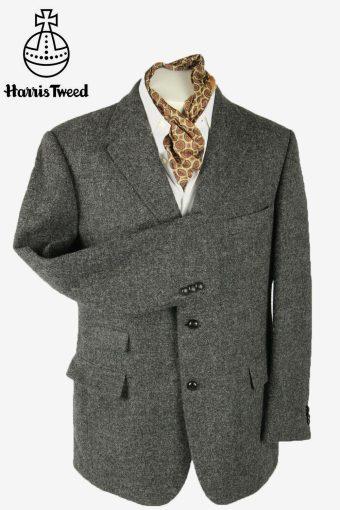 Vintage Harris Tweed Blazer Jacket Herringbone Weave 90s Grey Size XL