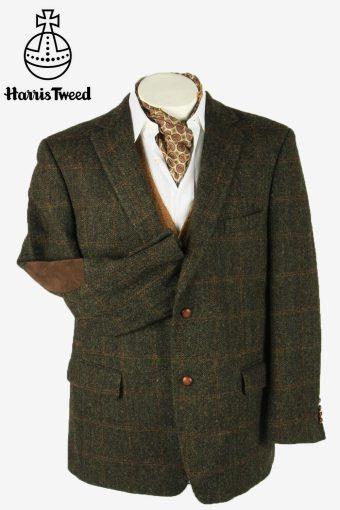 Vintage Harris Tweed Blazer Jacket Windowpane Elbowpatch Brown Size XXXL