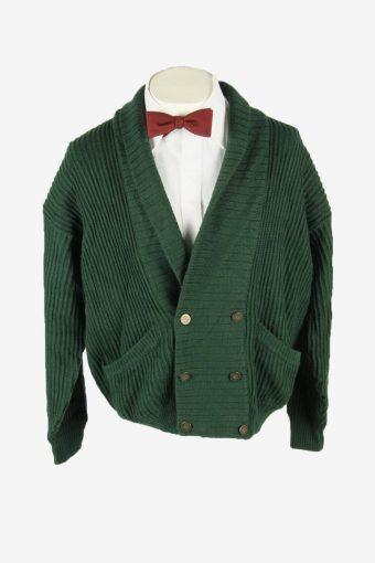Vintage Knit Cardigan Shawl Neck Pocket Button Up 90s Green Size XL