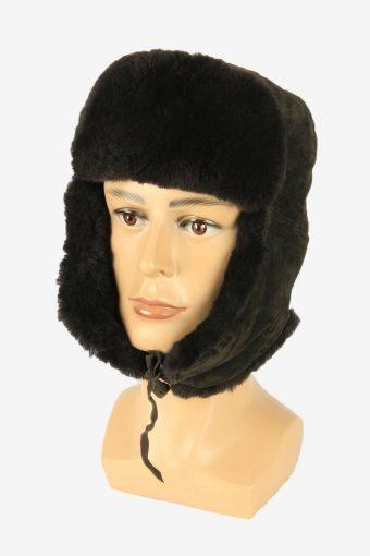 Vintage Russian Style Fur Hat Earflaps Winter Warm Black Size 58 cm