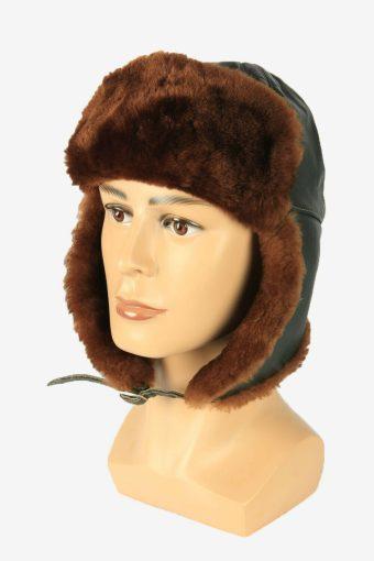 Vintage Russian Style Fur Hat Earflaps Winter Warm Green Size 54 cm