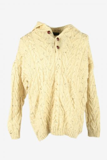 Vintage Wool Jumper Cable Knit Crew Neck Button 90s Cream Size XXL