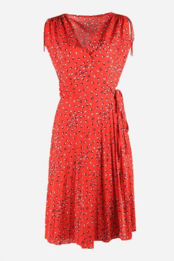 Vintage Wrap Polka Dot Dress Short Sleeve V Neck 90s Midi Women Red Size M