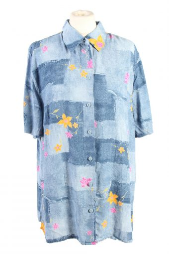 Women Blouse Top Shirt 90s Creation Ataier Floral Print Size XL